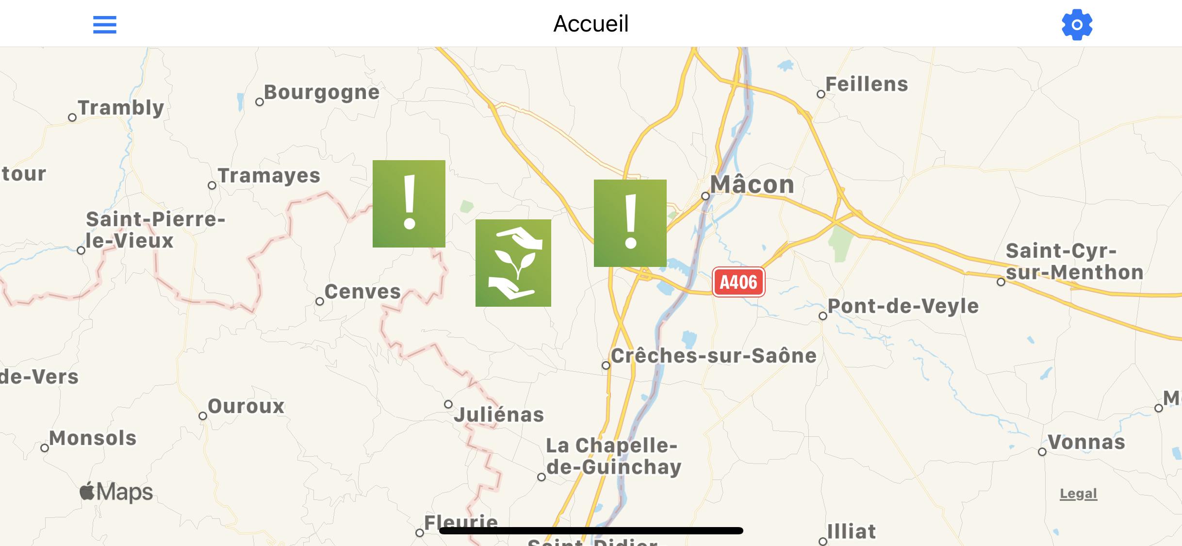 En cliquant sur les pictogrammes, on obtient des informations sur la nature de l'alerte et sur la localisation