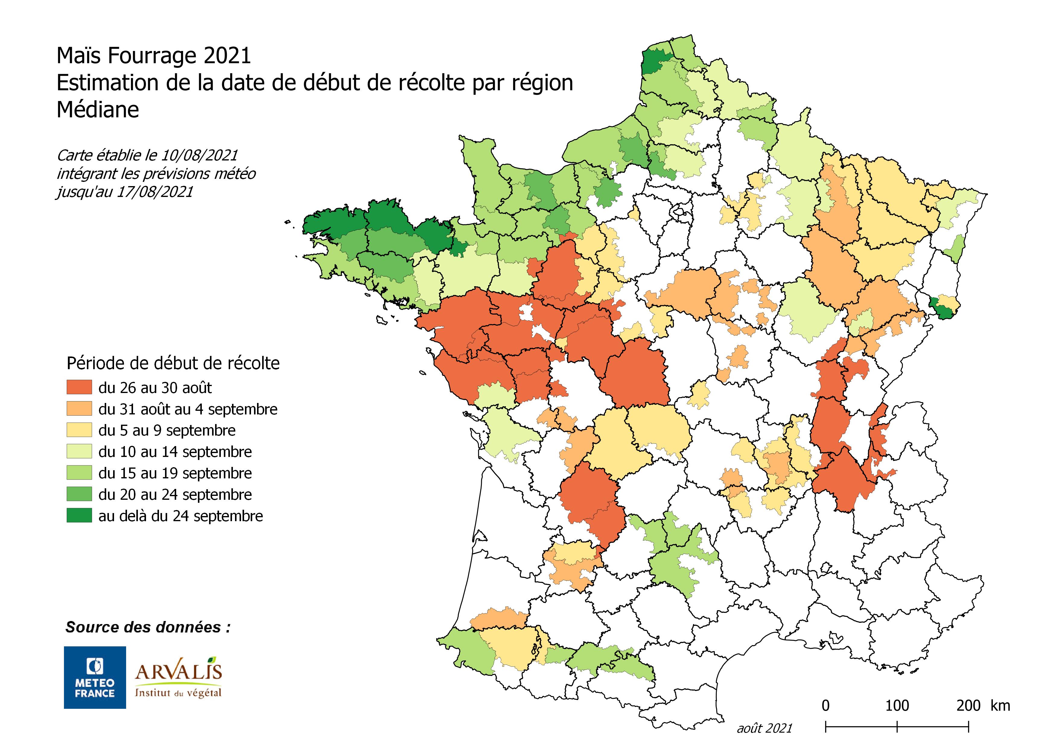 Carte des dates prévisionnelles de début de récolte des maïs fourrage établie le 10 août 2021 (Source : Arvalis)